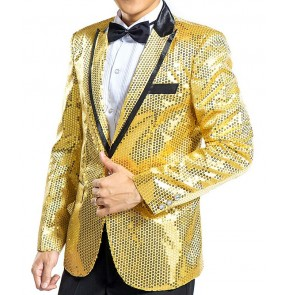 Black silver gold red royal blue red sequins paillette long sleeves lapel collar men's male competition stage performance latin jazz dj singer dance costumes outfits blazer coats tops